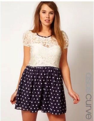 ASOS CURVE IVORY Lace Dress with Navy Polka Dot Skirt Plus Size ...