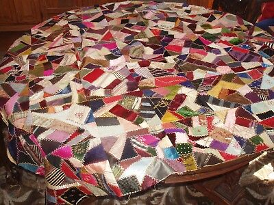 """Antique Vintage Hand Made Crazy Quilt Patchwork w Embroidery & Silk 69"""" x 60"""""""