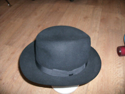 MENS VINTAGE 'G.A. DUNN & Co. ~ HOMBURG HAT' in BLACK  SIZE 7 / 330 GREAT COND