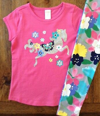 NWT Gymboree 4 5 6 7 8 10 Pink Horse Top & Floral Leggings Outfit Glitter Girls