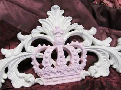 WHITE PEDIMENT with PINK CROWN/TOPPER~POLY RESIN~Cottage~Chic~Nursery