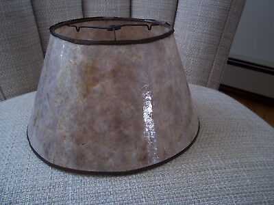 Empire Style Blonde Mica Lamp/Light Shade Copper/Brass? Frame Antique Fixed Tri.