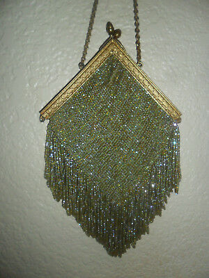 """""""vintage Green Beaded Purse Late 1800's Or Early 1900's"""""""