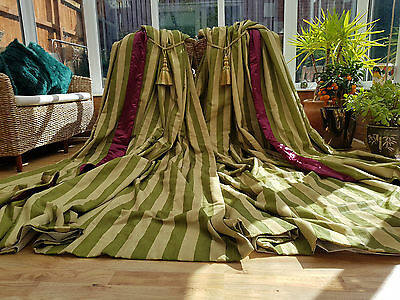 """Huge  Moire Silk Green  Interlined Curtains  105"""" Drop By 70"""" Width"""
