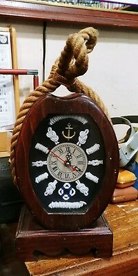 Solid Wood Pully Quartz Clock Knot Shadow Box Table Top Key Holder working