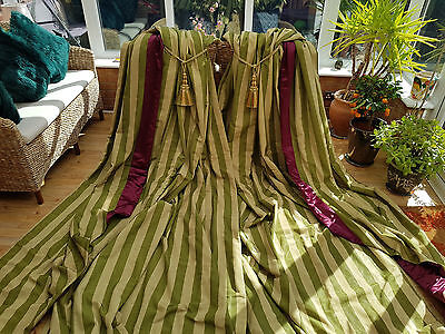 """Huge Pair  Moire Silk Green  Interlined Curtains  105"""" Drop By 72"""" Width"""