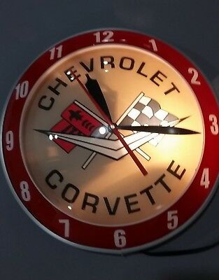 "Corvette/chevrolet Gm Flying Saucer Lighted Racing Flags 16"" Electric Wall Clock"