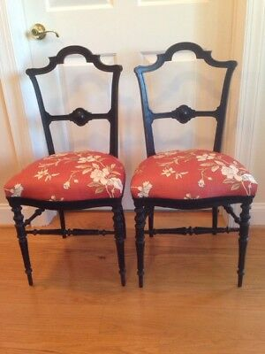 Pair of Rare Antique Eastlake or Rococo Victorian accent chairs, decorator,