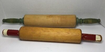Lot of 2 Vintage Rolling Pins Mid Century
