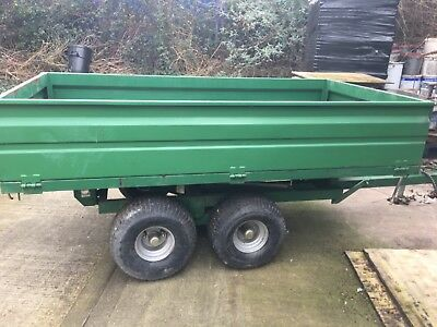2 ton Danelander hydraulic tipping trailer on twin axle with flotation tyres