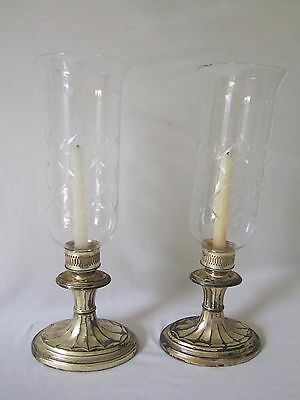 Antique Benedict Silver Plate Candlesticks Crystal Hurricane Candle Holders Pair
