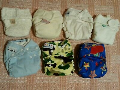 Selection of 7 real nappies various makes to try, first size