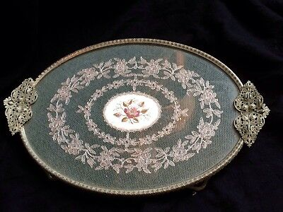 Vintage Vanity Set Petit Point Embroidery Tray,ornate Filigree Mount,very Pretty
