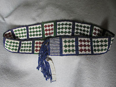 Old Native American Indian Beaded Hat Band, Hatband