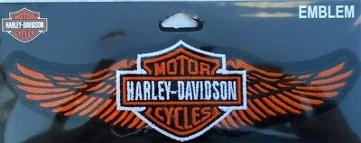 Harley Davidson Bar And Shield With Wings Classic Embroidered Patch Orange Wings