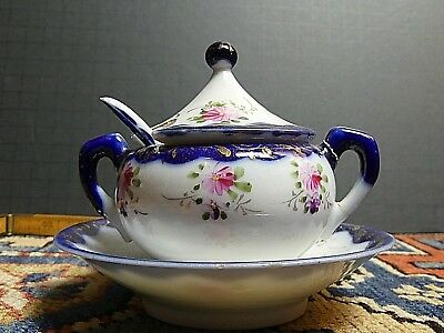 Antique Handpainted Cobalt Blue Victorian English Mustard Pot Unmarked WOW!