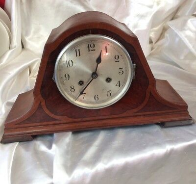 Old Vintage Art Deco Mantle Clock,walnut Case With Beautifull Inlaid Decoration