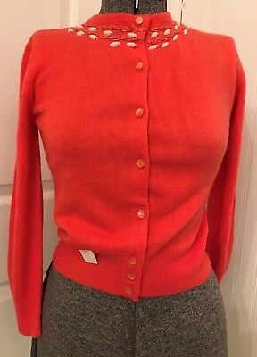 vintage 1950's girls sweater, orlon acrylic, tangerine, B31