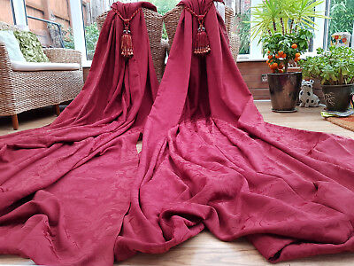 """Huge  Pair Red  Brocade Lined  Curtains   86"""" Drop By 120"""" Width"""