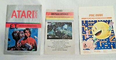 Vintage Atari 2600 Lot of 3 Replacement Game Manuals E.T. PAC-MAN Demon Attack