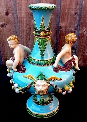 Rare Antique Minton Majolica Figural Vase 1871 Applied Masks Garlands & Cherubs