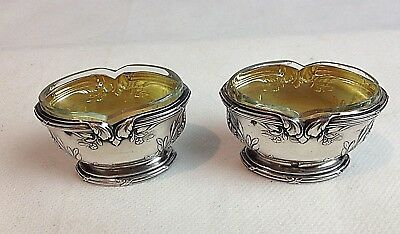 Pair C19th French Silver Gilt Repousse Minerva Mark Salts Clear Star Cut Liners