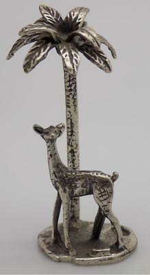 Vintage Solid Silver Italian Made Palm w/t Fawn Miniature, Figurine, Stamped