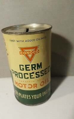 Vintage Conoco Motor Oil Can Germ Processed Coin Bank