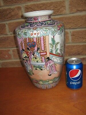 Large Elegant Antique Chinese Famille Rose Enamelled Vase Signed To Base