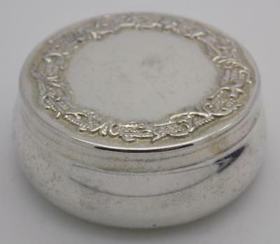 Vintage Solid Silver Italian Made Round Pill / Snuff Box, Stamped, Closes Firmly