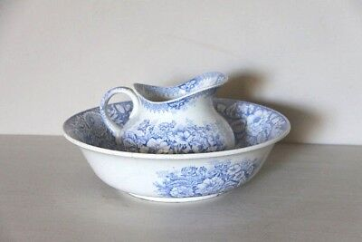 Antique French Porcelain Pitcher and Basin, Blue and White Transferware