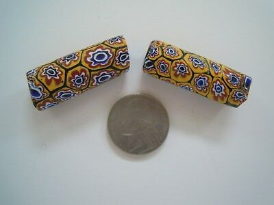 """Two/2 1 ¼"""" Old Yellow/Blue/Brown Millefiori Glass Trade Beads, Africa"""