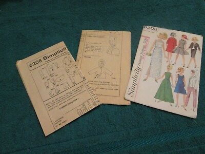 Vtg1968 Simplicity Pattern # 6208 Barbie Envelope & Instructions Sheets Only