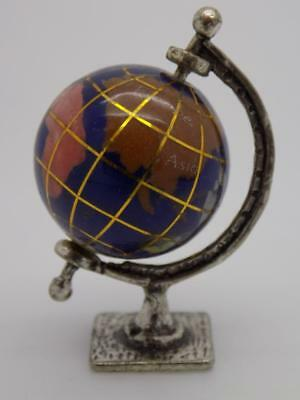 Vintage Solid Silver & Glass Italian Made Globe Miniature, Figurine, Stamped*