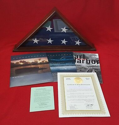American Flag USS Arizona Memorial Pearl Harbor flown 70th Anniversary 12/7/11