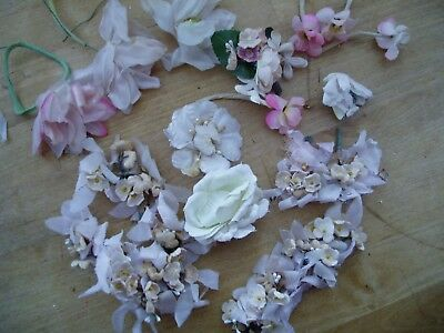 LOT of DARLING *VINTAGE* millinery hat flowers parts IVORY FORGET ME NOTS