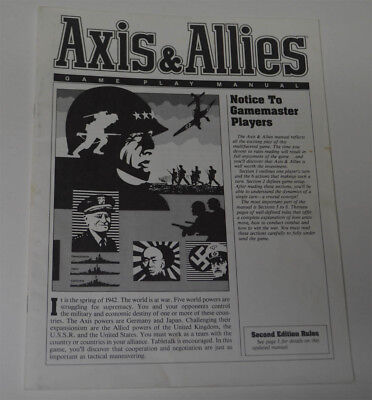 AXIS & ALLIES Board Game 1984 Milton Bradley Replacement Game Play Manual
