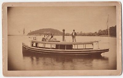 SUPER Albumen Photo - Steamboat on Lake - Grace E Willey 1870 Concord NH? Boat