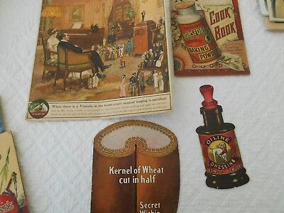 Lot Early 1900's Advertising Paper Brochures Recipes Baking Victrola Postum