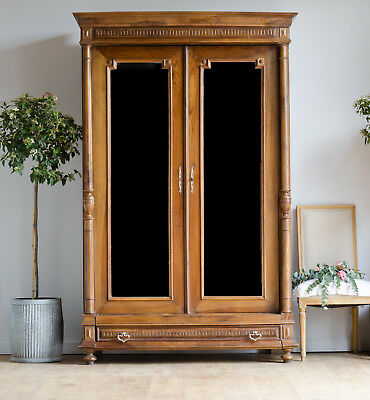 French Antique 19C Walnut Double Armoire Wardrobe Cupboard Double Mirrored Doors