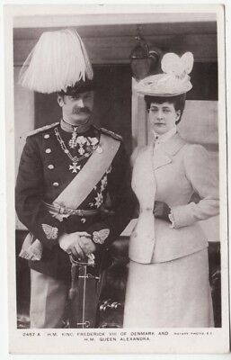 KING FREDERICK V111 of DENMARK - Queen Alexandra - 1908 used Real Photo postcard