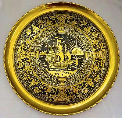 Superb Brass Tray: Exotic Art Deco motifs, likely Erhard & Sohne
