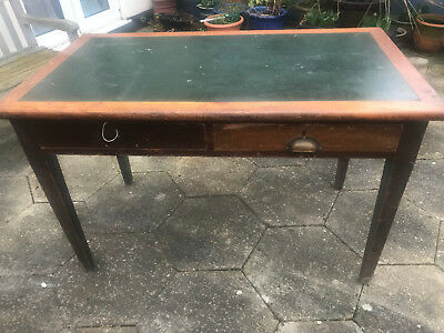 VINTAGE 1936 Antique Style Two Drawer Desk with green inlaid leather top