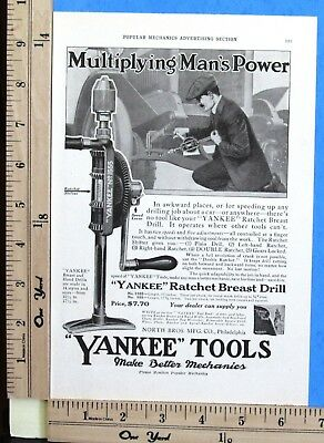 1918 YANKEE TOOLS Ratchet Breast Drills MAKE BETTER MECHANICS Vtg Print Ad 8777