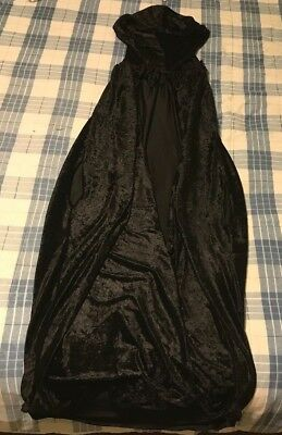 Handmade Medieval/Renaissance Black Velour Cloak/Cape with Arm Holes and Hood