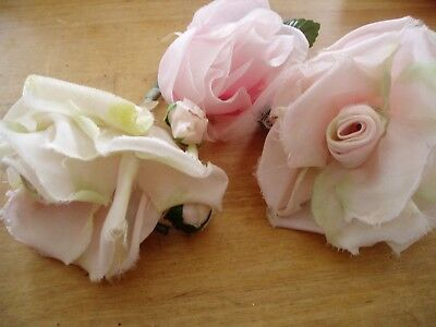 SWEET *VINTAGE* LOT millinery hat flowers ivory & pink JAPAN ROSES 3 pieces!!