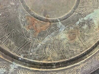 """Antique Islamic Persian Art Wall Home Decor Copper Plate Tray Hand Engraved 13"""""""