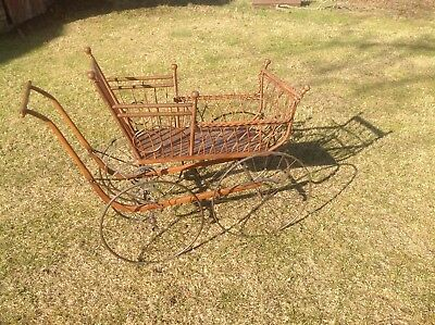 Antique Primitive Wood Iron Wicker Baby Carriage Buggy Stroller