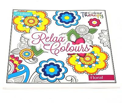 Adults Anti-Stress Colour Therapy Colouring Puzzle Book Floral Flowers Plants