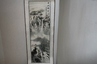 "Asian Picture Scroll Wall Hanging 37"" X 9.75"" Brown Ribbon Asian Picture Scroll"